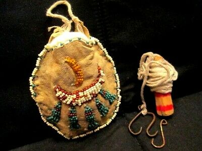 Antique c1900 Brain Tanned Beaded Pouch, Fishing Line& Hooks, Appraisal Included