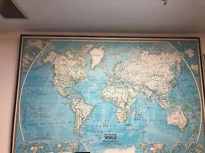 1981 National Geographic World Map Mounted