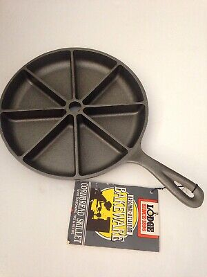 Vintage NOS Never Seasoned Lodge Cast Iron 9 in Cornbread Skillet Pan USA 8CB2