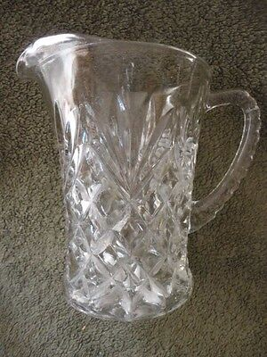 "Anchor Hocking Press Cut Clear Glass Cream Pitcher Creamer  4-5/8"" T Vintage"