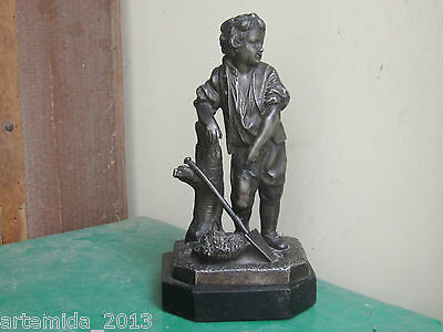 ANTIQUE Rare French SILVERED SPELTER Statue YOUNG BOY 19 Century