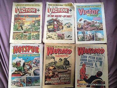 The Victor, Hotspur And Warlord comics 6 issues from 1965 To 1983 Job Lot
