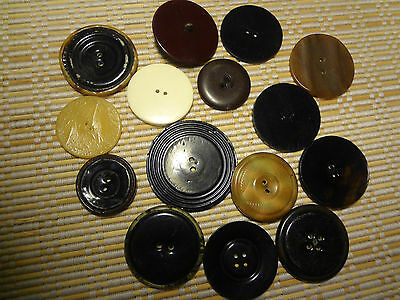 Vintage Tight Top Celluloid Buttons Natural Sewing Craft MIX LOT 15 pcs )