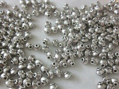 100 Bicone Spacer Beads 4mmx5mm Antique Silver Coloured #sp3171 Jewellery Craft