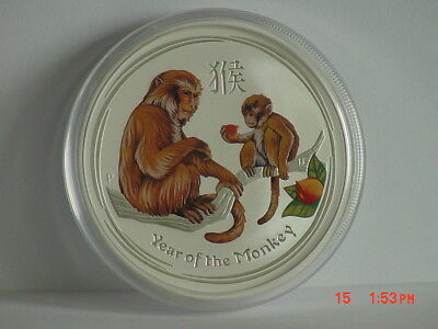 2016 P Australia Lunar Year Of The Monkey Colorized/colored $2 2 Oz Silver Unc