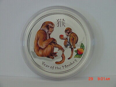 2016 Australia Lunar Year Of The Monkey 1 Oz Silver $1 Perth Colored/colorized