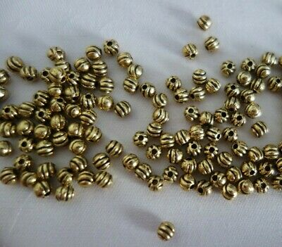 100 Antique Gold Coloured 4mm Corrugated Spacer Beads #sp1229 Jewellery Making