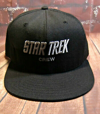 68e7d92b574c4 Star Trek Crew Spell out Snap back Hat Black Grey Cap Size Large Made in
