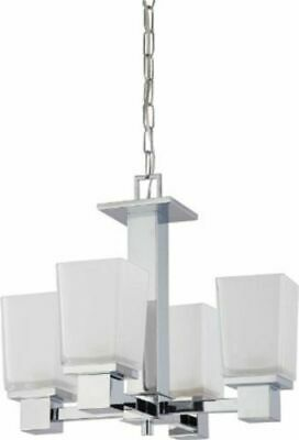 Nuvo 60-4005 - Chandelier in Polished Chrome Finish with Sandstone Etched Glass