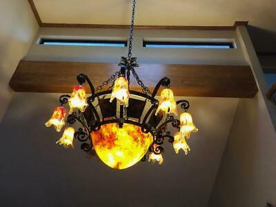 Hand Made Art Deco Style Heavy Duty Wrought Iron /Glass Chandelier Multicolor