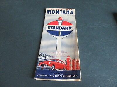 Vintage Road Map Montana 1940 Census Standard  Gas Oil   Lot 18-67
