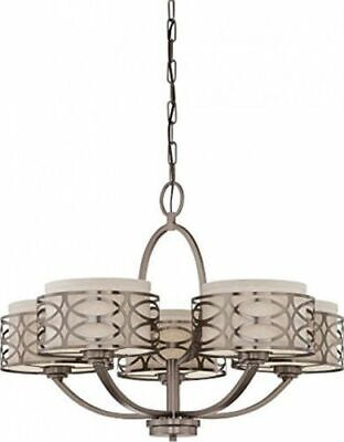 Nuvo 60-4725 - Hazel Bronze Chandelier with Khaki Fabric Shades/Cream Diffuser