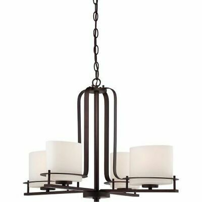 Nuvo 60-5004 - 4-Lights Venetian Bronze Chandelier with Etched Opal Glass