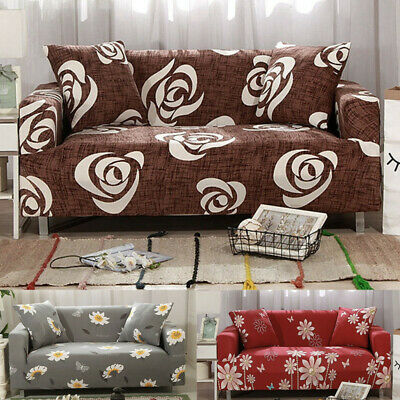 1/2/3/4 Seater Elastic Sofa Slipcover Printed Flowers Couch Cover  All-inclusive