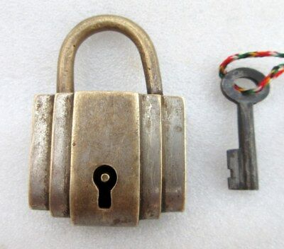 Vintage Old Indian Hand Crafted Solid Brass Unique Rare Shape Pad lock With Key