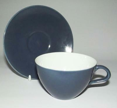 Poole Pottery Contour Shape 10cm Dia Cup with Saucer Glazed in Cameo Blue Moon