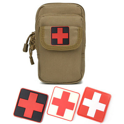 Outdoor Survival First Aid PVC Red Cross Hook Loops Fasteners Badge Patch OS