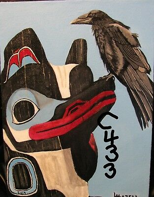 "C433    Original Acrylic Painting By Ljh      ""Raven Perching On Totem Pole"""