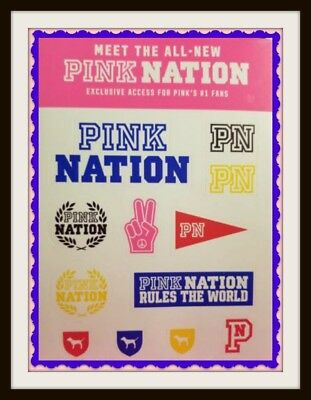 Victoria's Secret PINK FAN'S EXCLUSIVE Sheet of 12 PINK NATION Stickers
