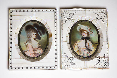 2 Antique European Miniature hand painted portraits set in inlay frames. Signed.