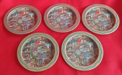 Vintage Set of New Orleans Louisiana Metal Coasters 1960s or 1970s