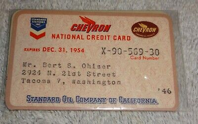 vintage gas company credit cards  CHEVRON national 1954
