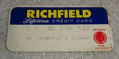 vintage gas company credit cards  RICHFIELD lifetime
