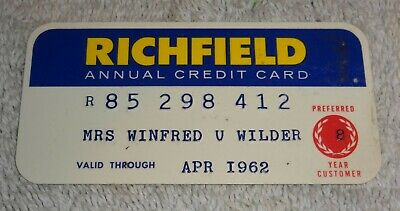 vintage gas company credit cards  RICHFIELD annual 1962