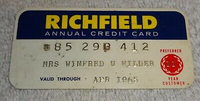 vintage gas company credit cards  RICHFIELD annual 1965