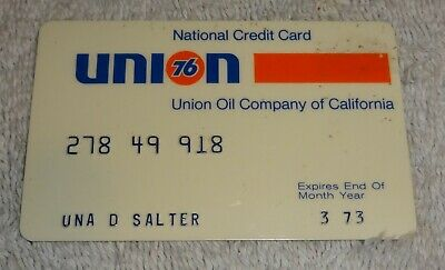 vintage gas company credit cards  UNION national 1973