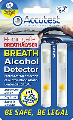 Alcohol Breathalyser Disposable Breath Tester Kit NF Certified France EU x2 Pack