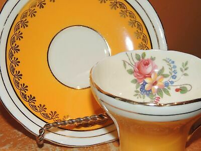Aynsley England Bone China Cup & Saucer Sunny Yellow floral bouquet gold gilding