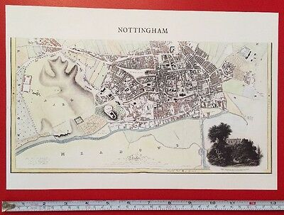 Old Antique Historic colour map of Nottingham, England: 1800's, 1830: Reprint