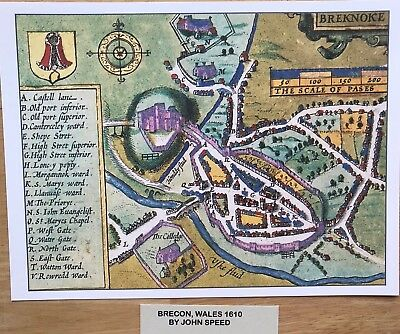 Old Antique Tudor town plan, map BRECON Castle, Wales: Speed 1600s Reprint
