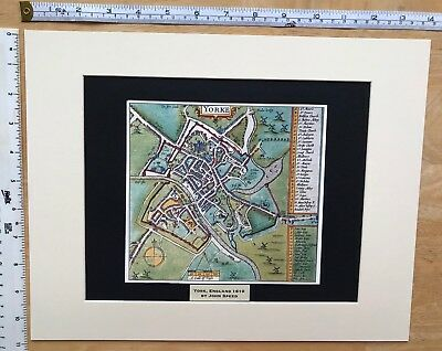 Mounted Old Antique Tudor town plan map YORK, England: Speed 1600s Reprint