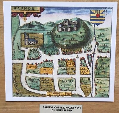 Old Antique Tudor town plan, map RADNOR Castle, Wales: Speed 1600s Reprint