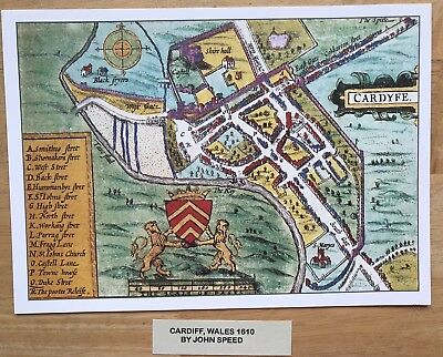 Old Antique Tudor colour town plan, map CARDIFF, Wales: Speed 1600s Reprint