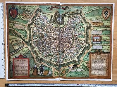 Antique Map of Milan (Milano), Italy: 1572 Braun & Hogenberg REPRINT 1500s Tudor