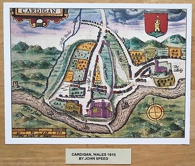 Old Antique Colour Tudor town plan, map CARDIGAN, Wales: Speed 1600s Reprint