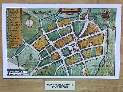 Old Antique Tudor colour town plan, map NEWPORT, England: Speed 1600s Reprint