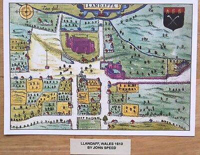 Old Antique Tudor town plan, map LLANDAFF Castle, Wales: Speed 1600s Reprint