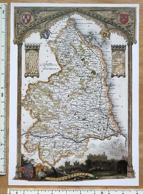 "Old Antique colour map Northumberland England: c1830's: Moule: 9 x 12.5"" Reprint"