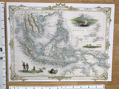Antique vintage map 1800s: Malay Archipelago, East India Islands Tallis Reprint