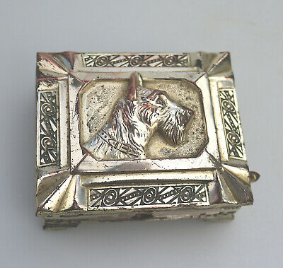Antique Art Deco Silver Plate RARE Automaton Cigarette Box Terrier Dog C.1920's