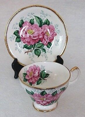 "Vintage Queen Anne ""Camellia"" Footed Gold Trimmed Bone China Cup Saucer England"