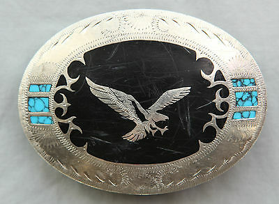 Vtg Johnson Held Hand Crafted Eagle Turquoise Inlay Western Belt Buckle