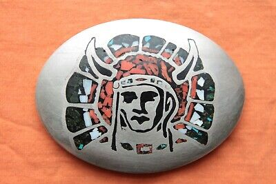 Vintage Hand Made Indian Chief Turquoise Coral Abalone Inlay Western Belt Buckle