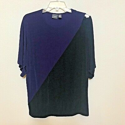 061b615c8f50fd CHICO S Travelers Black Purple Top Cut Away at One Shoulder - Size 2 (5442)