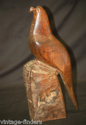 Vintage Hand Carved Rosewood Parrot Wooden Heavy Figurine Man Cave Home Decor