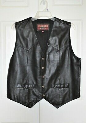 Saguaro West Frontier Western Wear Men's Size XL Black Leather Vest Snap Front